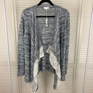 NWT Blue/Grey Waterfall Cardigan with White Lace